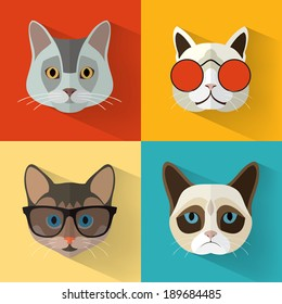 Animal Portrait Set with Flat Design/ Cat Collection / Vector Illustration
