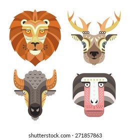 Animal portraits made in unique geometrical flat style. Vector heads of lion, deer, buffalo, monkey. Isolated icons for your design.