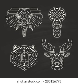 Animal portraits made in unique geometrical flat style. Vector heads of elephant, crocodile, bear, deer. Isolated icons for your design.