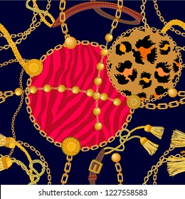 Animal print with chains, beads, straps and brushes. Seamless vector pattern with leopard spots, zebra stripes and jewelry elements. Women's fashon collection. On black background.
