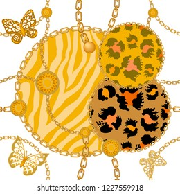 Animal print with chains, butterflies, straps and brushes. Seamless vector pattern with leopard spots, zebra stripes and jewelry elements. Women's fashon collection. On white background.