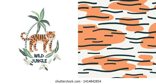 Animal print vector color pattern. Wild jungle hand drawn illustration. Palm, flowers. Exotic flora and fauna. Decorative textile, wallpaper. Tiger t-shirt print design