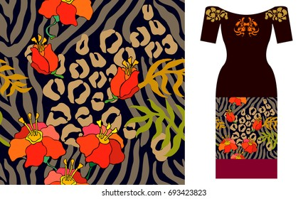Animal print with zebra stripes, leopars spots and flourish motifs. Party dress design. Seamless vector pattern with leaves and flowers. Summer textile collection. Brown? red and golden.