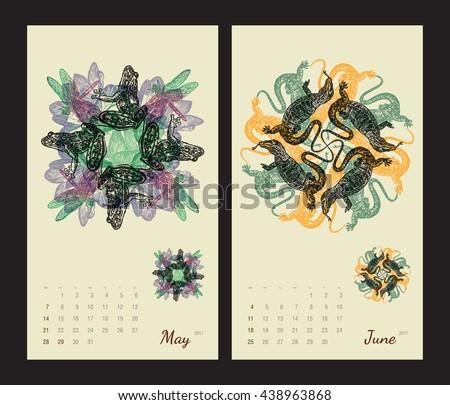 Peachy Animal Printable Calendar 2017 Flora Fauna Stock Vector Download Free Architecture Designs Scobabritishbridgeorg