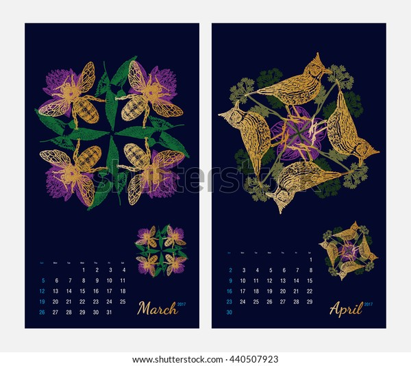 Animal printable calendar 2017 with flora and fauna fractals on dark blue background. Set 2 - March and April pages