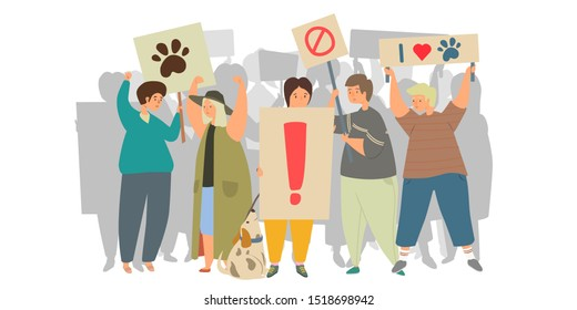 Animal protest flat vector illustration. Animal rights protection, bullying of animals, stop animal testing concept, vegetarianism. Group of people on a rally holding banners, flags and placards.