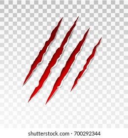 Animal red scratches on transparent background. Paper claws animal scratching. Claw scratch mark.  Animal predator paw claw, knife scratch trace. Horror slash trace. vector illustration.