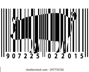 Animal rights barcode with pig silhouette