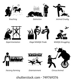 Animal Rights and Issues Stick Figure Pictogram Icons. Illustrations depicts poaching, extinction, animal cruelty, experimentation, illegal wildlife trade, factory farming, entertainment, and circus.