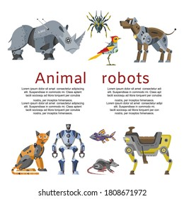 Animal robots inscription, mechanical toy, future technologies, design cartoon style vector illustration, isolated on white. Metal cyborg machine, modern artificial robotic mechanism, cute collection.