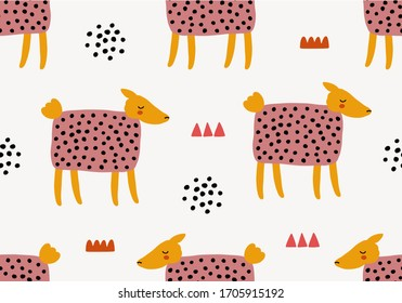 Animal seamless pattern with sheep. Vector background