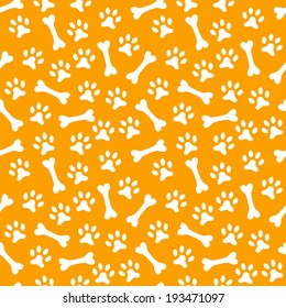 Animal seamless vector pattern of paw footprint and bone. Endless texture can be used for printing onto fabric, web page background and paper or invitation. Dog style. White and orange colors.
