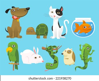 Animal set, with Dog, Turtle, Cat, Bowl Fish, Parrot, Bunny, Snake, Lizard, Mouse. Vector Illustration Cartoon.