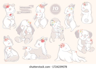 Animal set family character. Vector illustration. Mom and baby. Happy mother's day. Mom I love you.