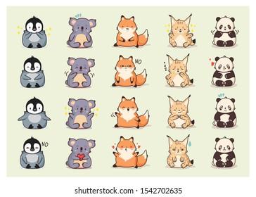 Animal set kawaii stickers. Panda, koala, lynx, fox, penguin. Cute cartoon funny kawaii character . Can be used for cards, stickers, flyers, poster, t-shirt. Vector