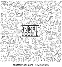 Animal Set Traditional Doodle Icons Sketch Hand Made Design Vector