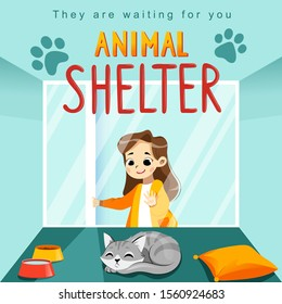 Animal Shelter design poster with child, cat and decorations. Illustration showes animal adoption, care, homeless help. Flat style. Vector illustration.