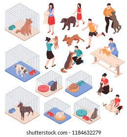 Animal shelter with dogs and cats in cages human characters with pets isometric set isolated vector illustration
