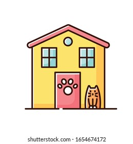 Animal shelter exterior sign yellow RGB color icon. Stray cats and dogs house, homeless animals care place. Kitty welcome area, pet open entrance zone. Isolated vector illustration