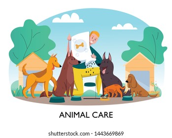 Animal shelter feeding dogs composition with text and outdoor landscape with man feeding homeless stray dogs vector illustration