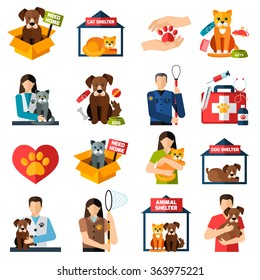 Animal shelter icons set with volunteers with cats and dogs isolated vector illustration
