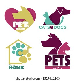 Animal shelter, pet clinic. Cats and dogs adopt or care graphic logo for banner. Rescue dog silhouette inside heart icon. Paws inside home icon. Graphic flat vector illustrations on white background.