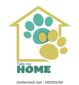 Animal shelter or pet shop isolated icon home and paw vector cats and dogs adoption charity and domestication kitty or puppy taking to family emblem or logo building silhouette and pawprints.