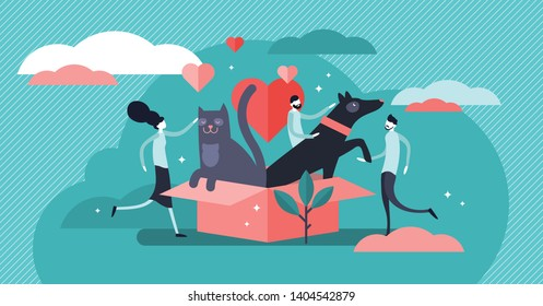 Animal shelter vector illustration. Flat tiny pets adoption community persons concept. Cats and dogs outdoors house. Abstract owners friendship and mammal safety help. Wildlife protection and rescue.
