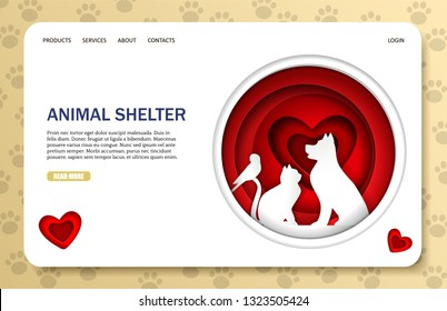 Animal shelter vector website template, web page and landing page design for website and mobile site development. Stray animal pound, rescue or rehoming centre paper cut art concept.