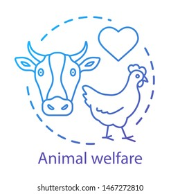 Animal shelter, welfare concept icon. Voluntary wildlife protection idea thin line illustration. Veterinary clinic, farming business. Heart symbol, chicken and cow vector isolated outline drawing