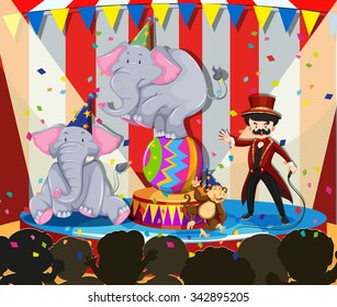 Animal show at the circus illustration