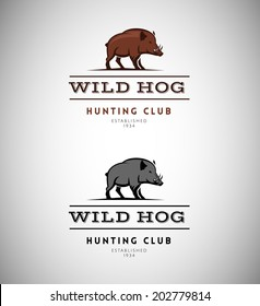 Animal silhouette logo vector design template. Wild hog emblem for a hunting club