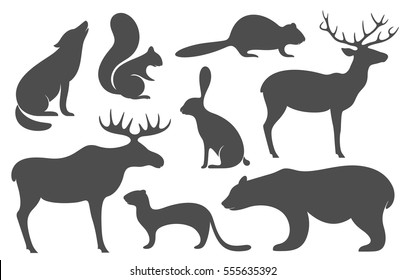 Animal silhouette set. Isolated animal on white background. EPS 10. Vector illustration