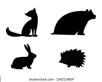 Animal silhouettes. Forest dwellers. The shadow of the bear, the hare, the Fox and the hedgehog.
