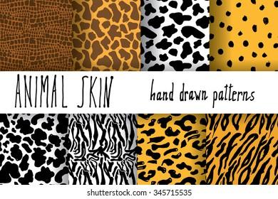 Animal skin hand drawn texture, Vector seamless pattern set, sketch drawing cheetah, cow, clocodile, tiger zeebra and giraffe skin textures.