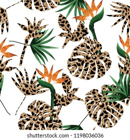 Animal skin leopard fill-in with tropical jungle and exotic leaves seamless pattern vector design for fashion ,fabric and all prints on white background color
