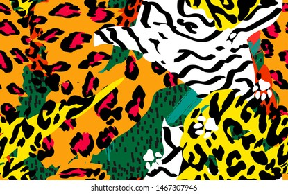Animal skin print leopard, tiger, zebra vector seamless pattern on green background. Yellow, rad, orange, black animal texture. The skin of wild tropical beasts in the african style.