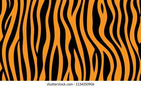 animal skin, tiger stripes, abstract pattern, line background, zebra print, fabric. Amazing hand drawn vector illustration. Poster, banner. Black and orange repeat seamless