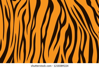 animal skin, tiger stripes, abstract pattern, line background, zebra print, fabric. Amazing hand drawn vector illustration. Poster, banner. Black and orange