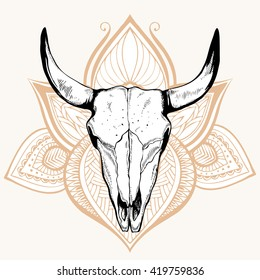 Animal skull, hand drawing, boho style. It can be used as a t-shirt print, picture.