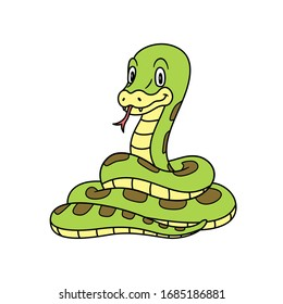 Animal Snake. Vector illustration. For pre school education, kindergarten and kids and children. For print and books, zoo topic. Smiling with happy face. friendly baby anaconda or python reptile