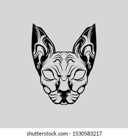 Animal Sphynx Cat Front View Vector