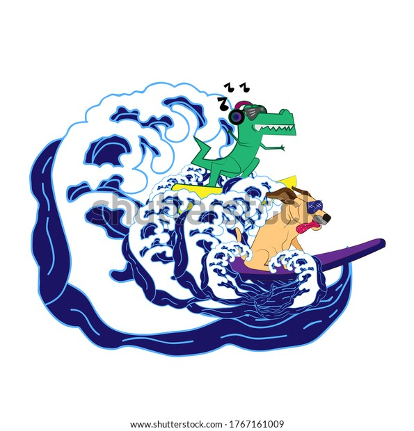 Animal surfing with big waves illustration for kids apparel