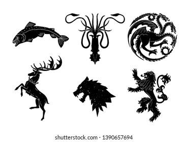 Animal tattoo for medieval heraldry illustrations
