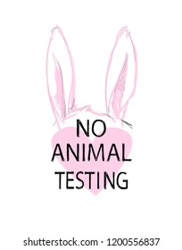 Animal testing logo.  Product not tested on animals symbol illustration.
