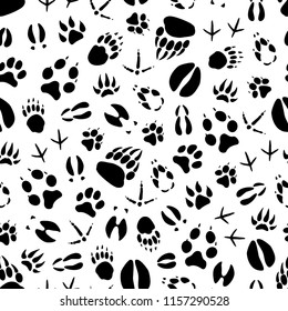 Animal track seamless pattern background of wild mammal and bird footprint. Bear, dog and wolf, tiger, deer and hog, duck, bull and chicken paw and foot print for hunting sport tracking themes design