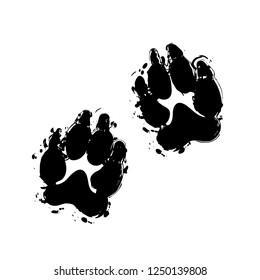 animal tracks icon. Black ink with splashes on white background