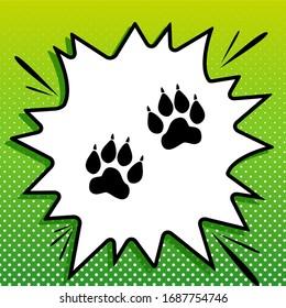 Animal Tracks sign. Black Icon on white popart Splash at green background with white spots. Illustration.