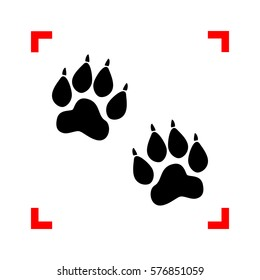 Animal Tracks sign. Black icon in focus corners on white background. Isolated.
