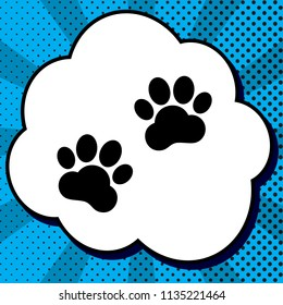 Animal Tracks sign. Vector. Black icon in bubble on blue pop-art background with rays.